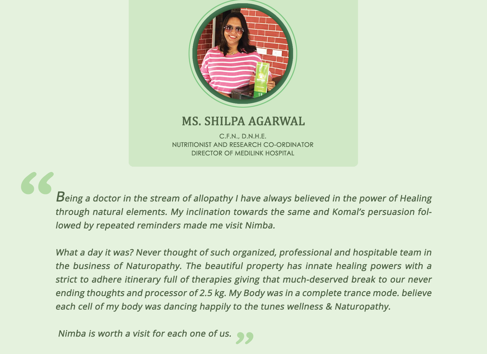 Shilpa Agarwal experienced Naturopathy